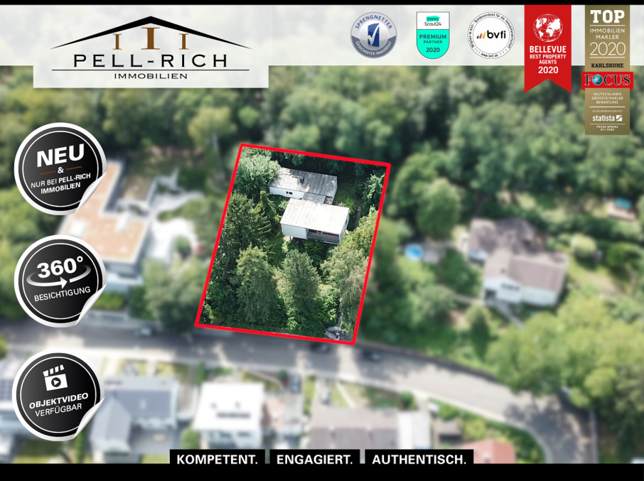 LAGE, LAGE, LAGE: Flachdach-Bungalow in Höhenlage von Karlsruhe-Grötzi