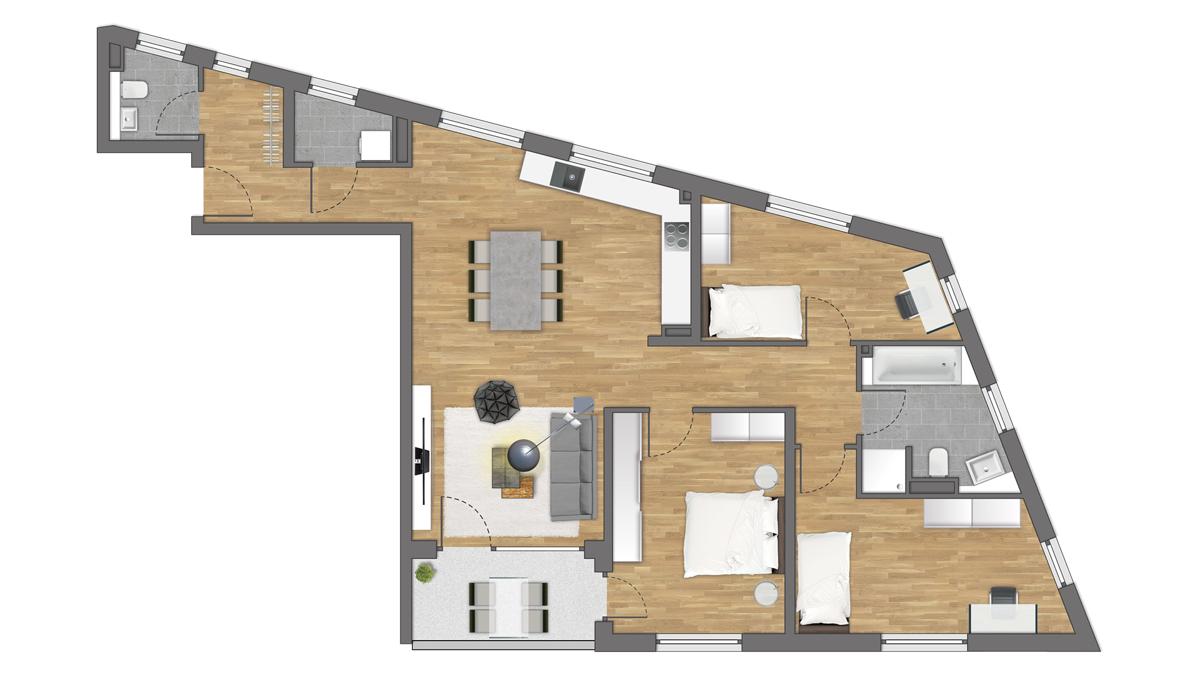 Einbauküche inklusive: schöne 4-Zimmer-Wohnung mit tollem Balkon zum W
