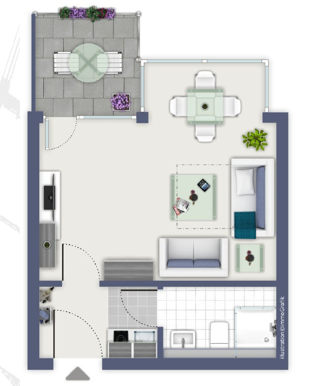 STADTNAH STARTKLAR: 1-Zimmer-Wohnung mit TG-Stellplatz und Balkon in z